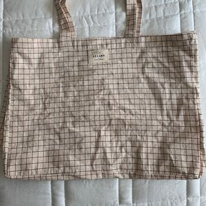 Sezane Canvas Tote - Red and Blue Grid Pattern